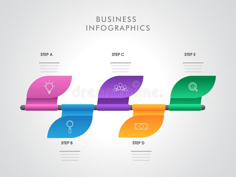 Disposición infographic colorida con cinco diversos pasos para el negocio Infographics ilustración del vector