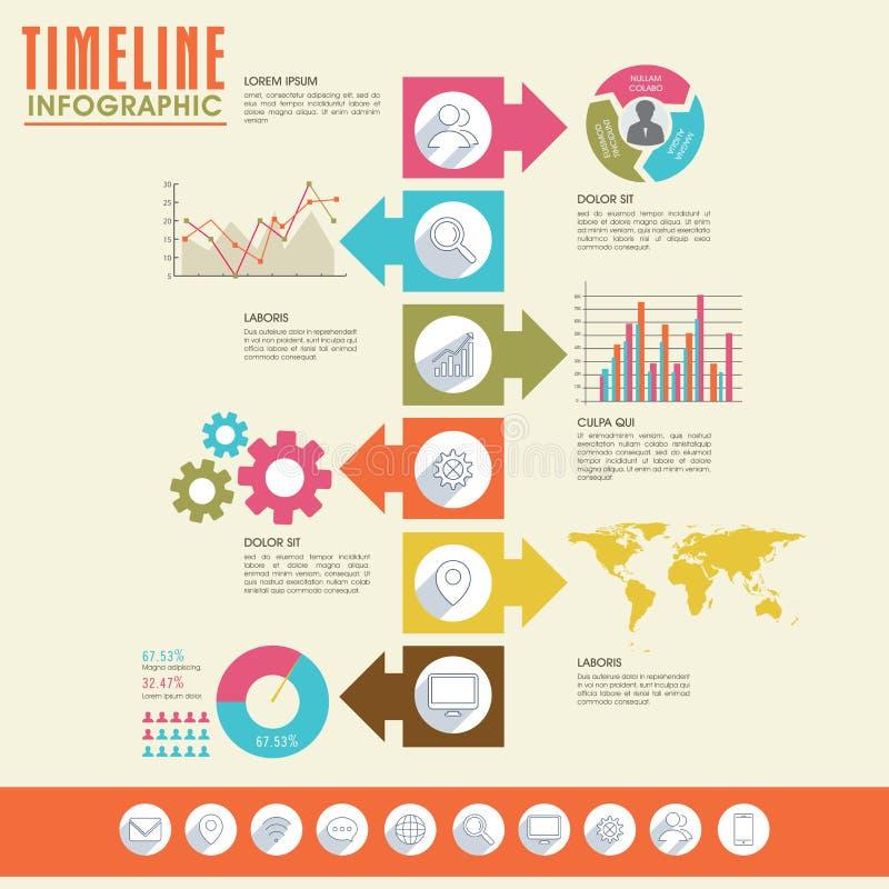 Disposición infographic de la plantilla de la cronología creativa stock de ilustración