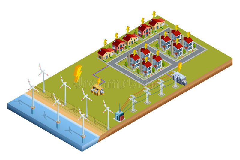 Disposición isométrica de la estación de la generación de Electric Power stock de ilustración