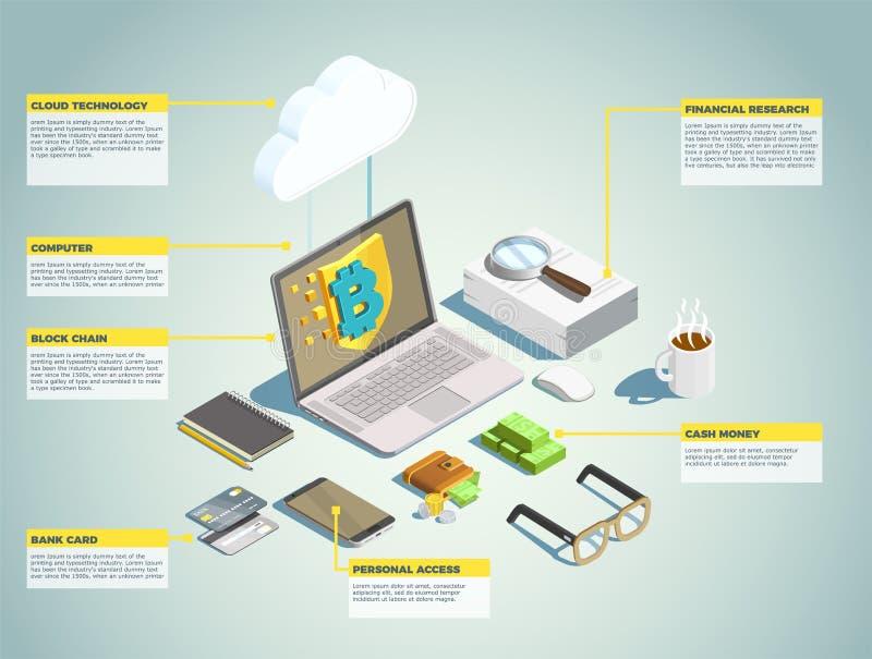 Disposición isométrica de la tecnología financiera libre illustration