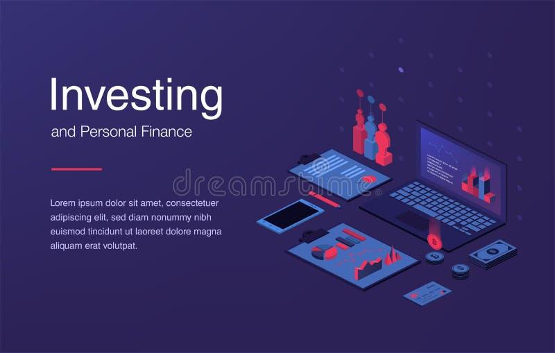 Disposición isométrica de la tecnología financiera con vector decorativo de los iconos del acceso personal del dinero del efectiv stock de ilustración