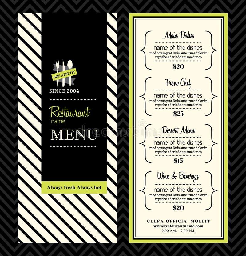Disposición moderna de la plantilla del diseño del menú del restaurante stock de ilustración