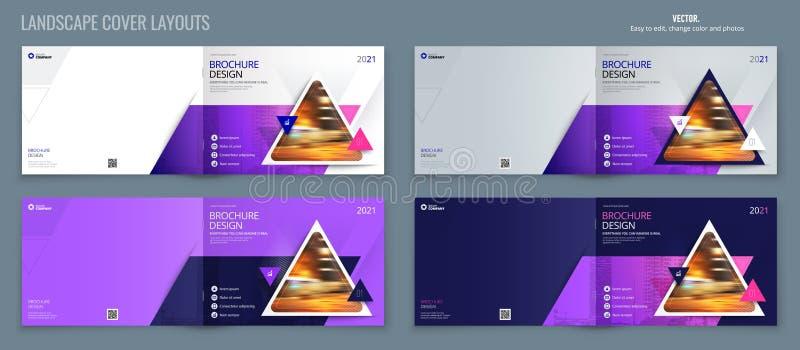 Disposición púrpura de la plantilla del folleto del paisaje, informe anual del diseño de la cubierta, revista, aviador o folleto  stock de ilustración