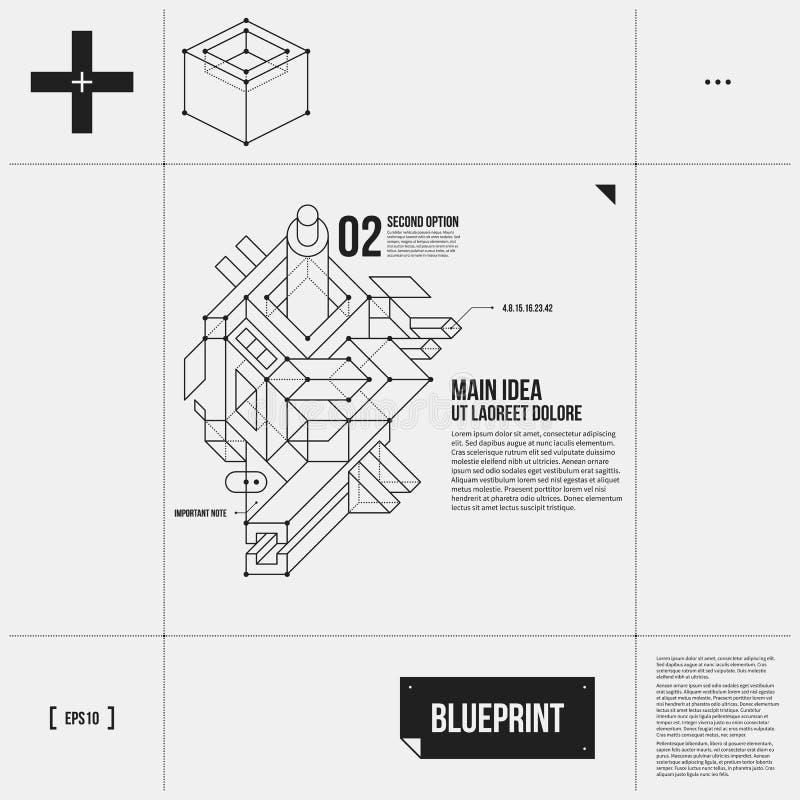 Disposición simple del vector con el objeto abstracto del esquema en estilo del proyecto stock de ilustración