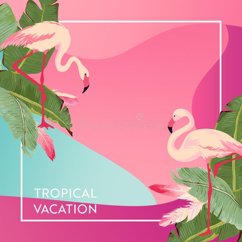 Disposición tropical de las vacaciones con el pájaro del flamenco para el web, página de aterrizaje, bandera, cartel, plantilla d ilustración del vector