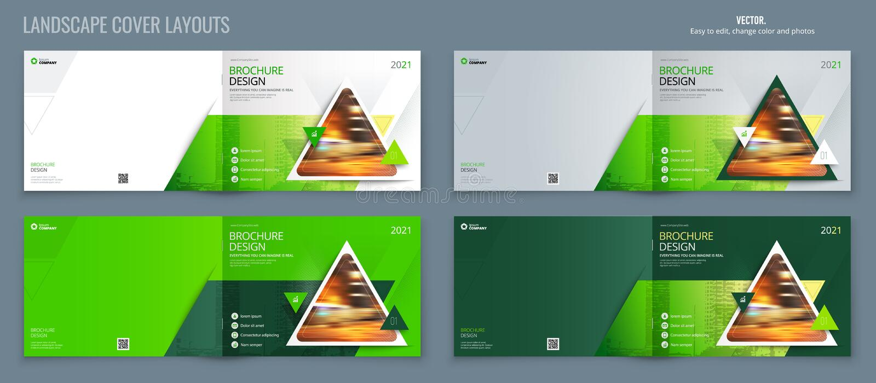 Disposición verde de la plantilla del folleto del paisaje, informe anual del diseño de la cubierta, revista, aviador o folleto en stock de ilustración