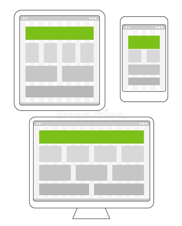 Disposiciones de diseño adaptantes plantillas de la página del sitio web ilustración del vector