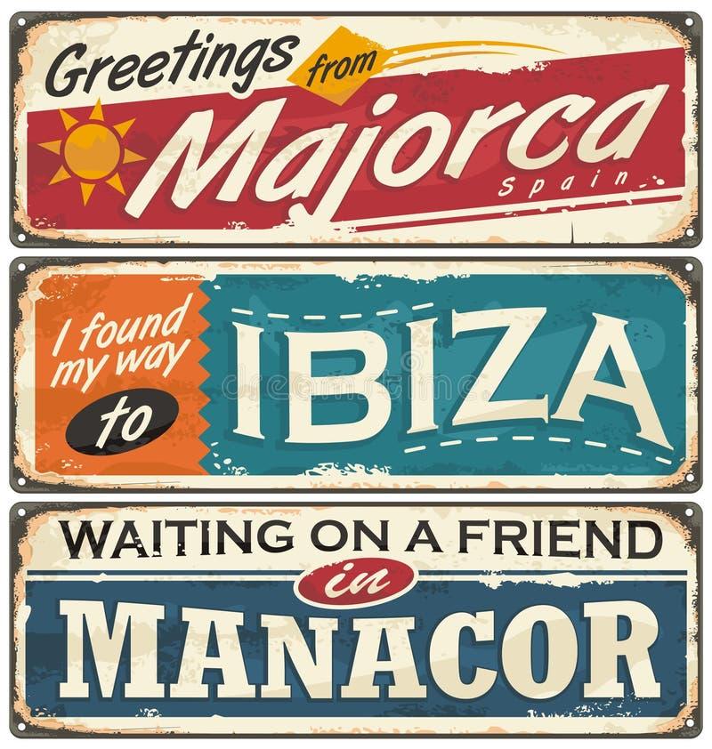 Disposiciones de las postales del vintage con el destino turístico popular en España libre illustration
