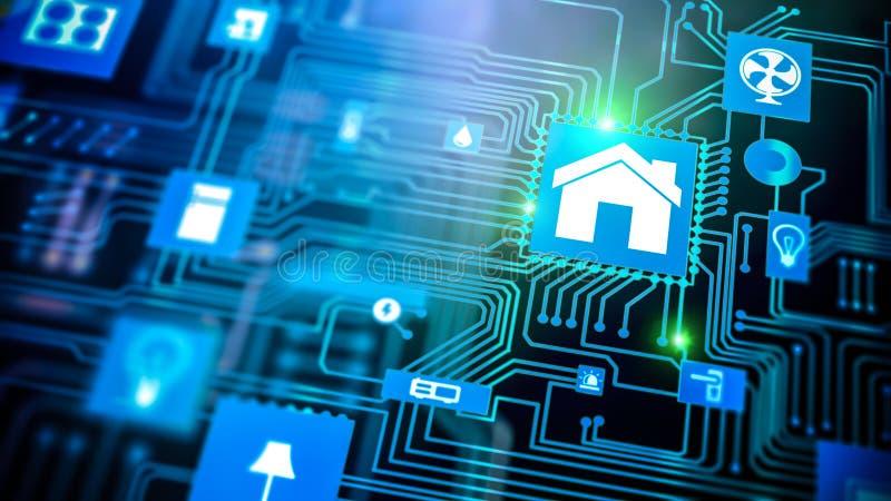 Dispositif à la maison intelligent - contrôle à la maison illustration de vecteur