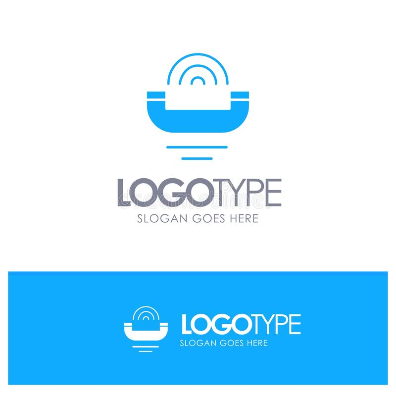 Dispositif, aide, productivité, appui, logo bleu de téléphone ferme avec l'endroit pour le tagline illustration libre de droits
