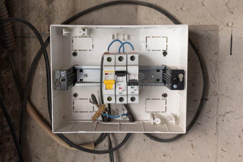 Dispositif d'arrêt protecteur Boîte de distribution d'énergie photos libres de droits