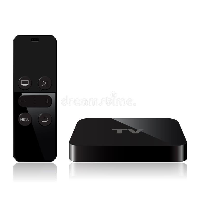 Dispositif de boîte de joueur de TV avec le contrôleur à distance illustration stock