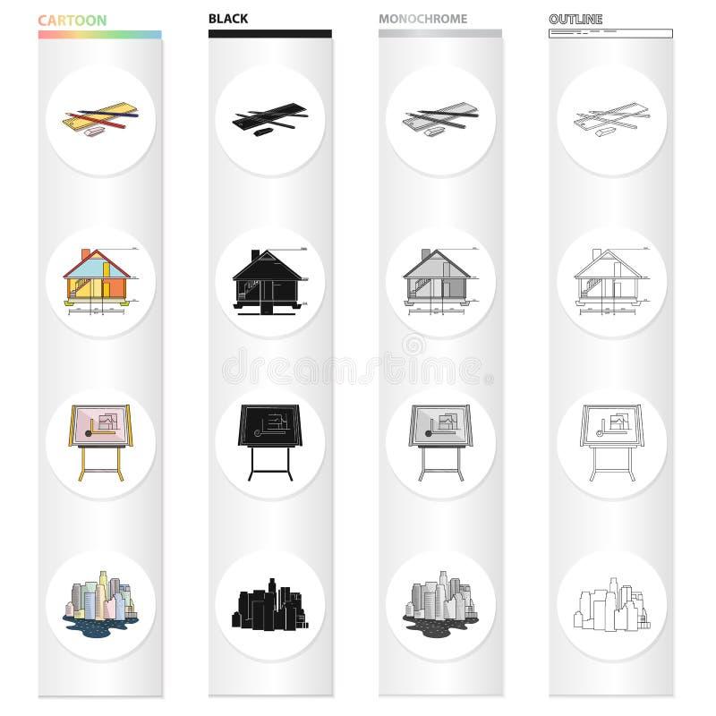 Dispositif de dessin, Kuhlman, architecture de ville, croquis de maison, accessoires de dessin Icônes réglées de collection d'arc illustration stock