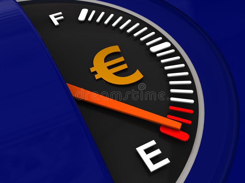Dispositif de dosage de carburant avec l'euro signe illustration stock