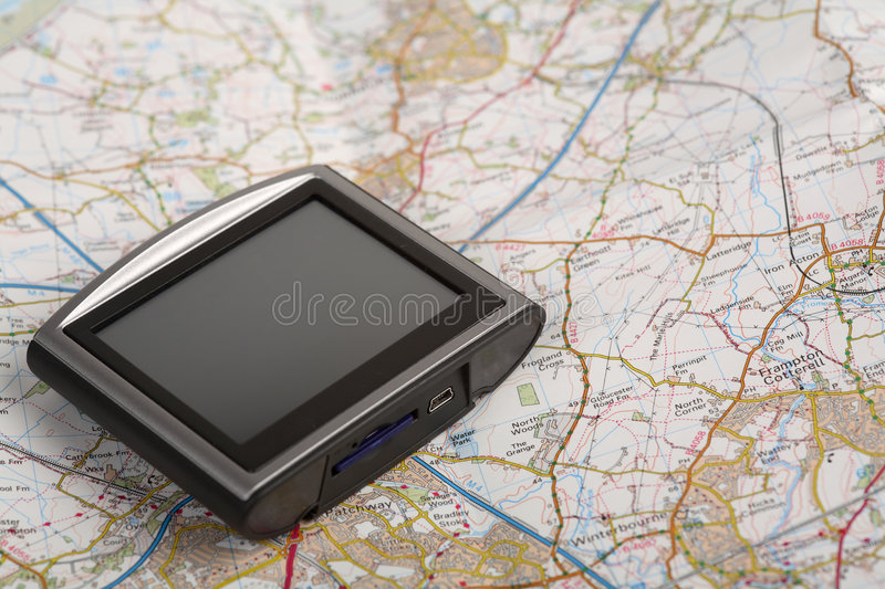 Dispositif de GPS sur une carte photos libres de droits