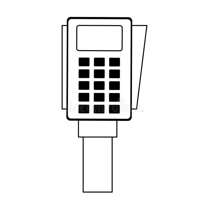 Dispositif de paiement ?lectronique de lecteur de carte de cr?dit en noir et blanc illustration stock