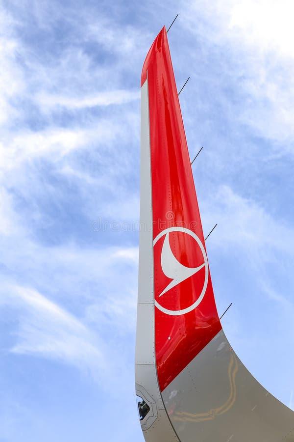 Dispositif de saumon d'avion de Turkish Airlines image libre de droits