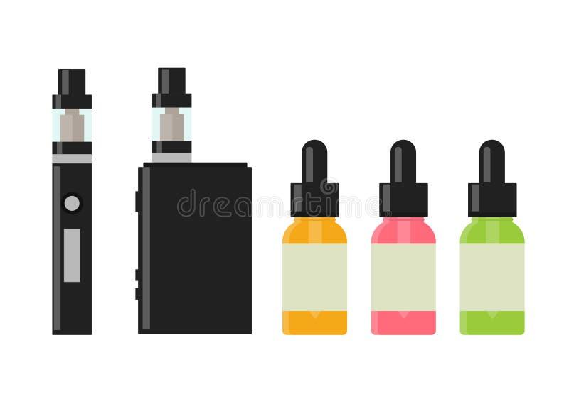 Dispositif et accessoire de Vaping Cigarette et bouteilles électroniques avec le liquide de vape illustration de vecteur