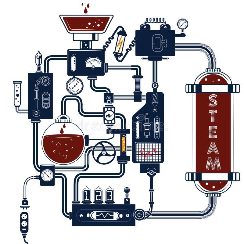 Dispositif fantastique de composition robotique en ingénieur de machines de Steampunk illustration stock