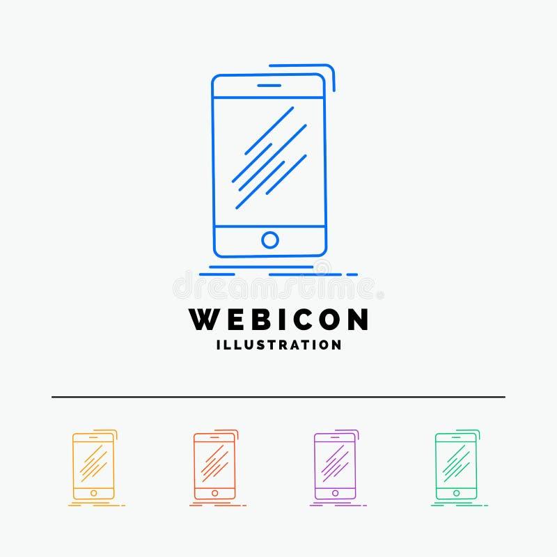 Dispositif, mobile, téléphone, smartphone, discrimination raciale du téléphone 5 calibre d'icône de Web d'isolement sur le blanc  illustration de vecteur