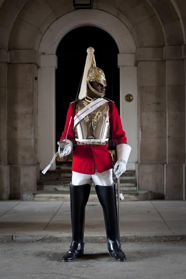 Dispositif protecteur de position de soldat dans des dispositifs protecteurs de cheval à Londres photo libre de droits
