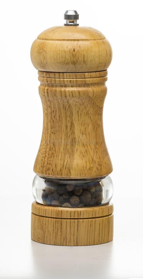 Dispositif trembleur de sel, fond blanc, sel à piles et de cuivre, dispositifs trembleurs de poivre, acier inoxydable, dispositif photos stock