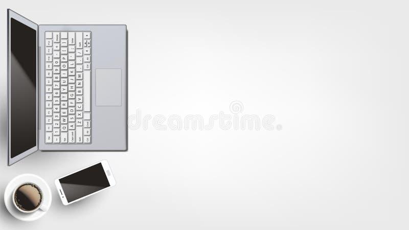 Dispositifs contemporains sur le vecteur étendu plat de lieu de travail illustration stock