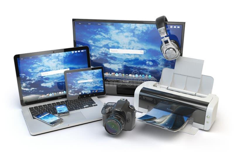 Dispositifs d'ordinateur et équipement de bureau Téléphone portable, moniteur, La illustration de vecteur