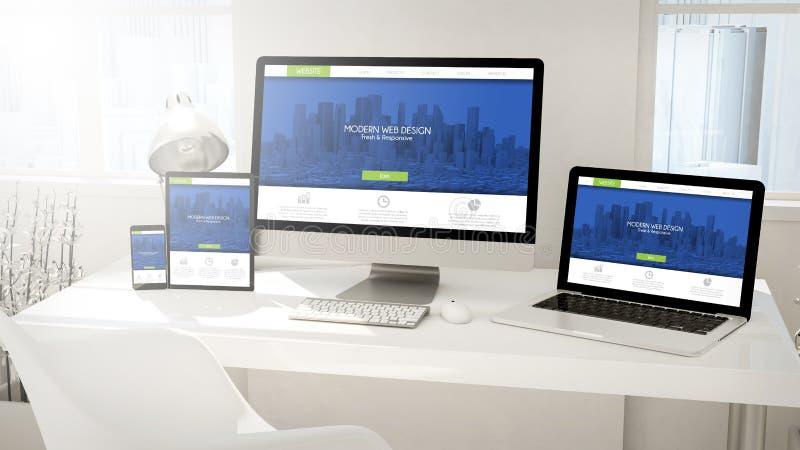 dispositifs de bureau ordinateur, comprimé, ordinateur portable et téléphone avec frais illustration de vecteur