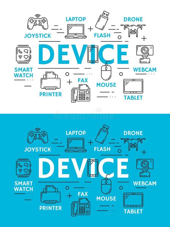 Dispositifs de Digital et plan de technologie illustration stock