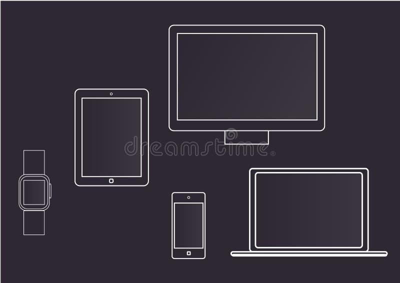 Dispositifs et instruments dans la ligne de structure illustration libre de droits