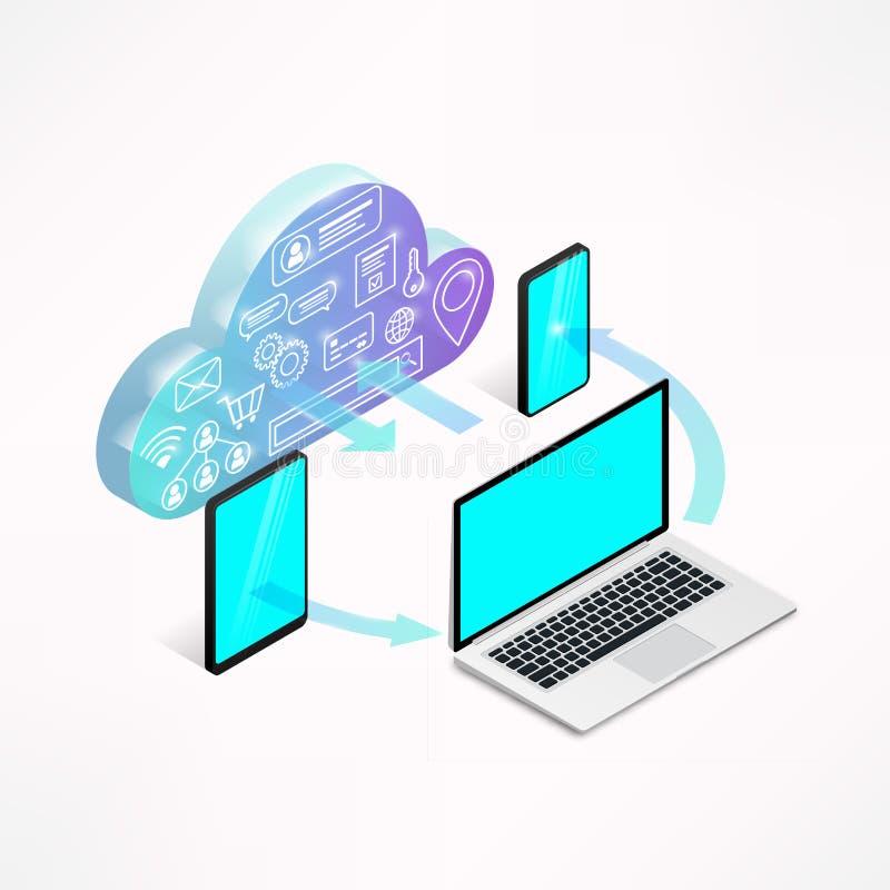 Dispositifs isométriques de concept de services de nuage d'isolement illustration libre de droits