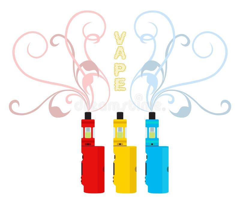 Dispositifs lumineux de vape réglés Liquide de Vaping, inhalateur de fumée Styl plat illustration libre de droits