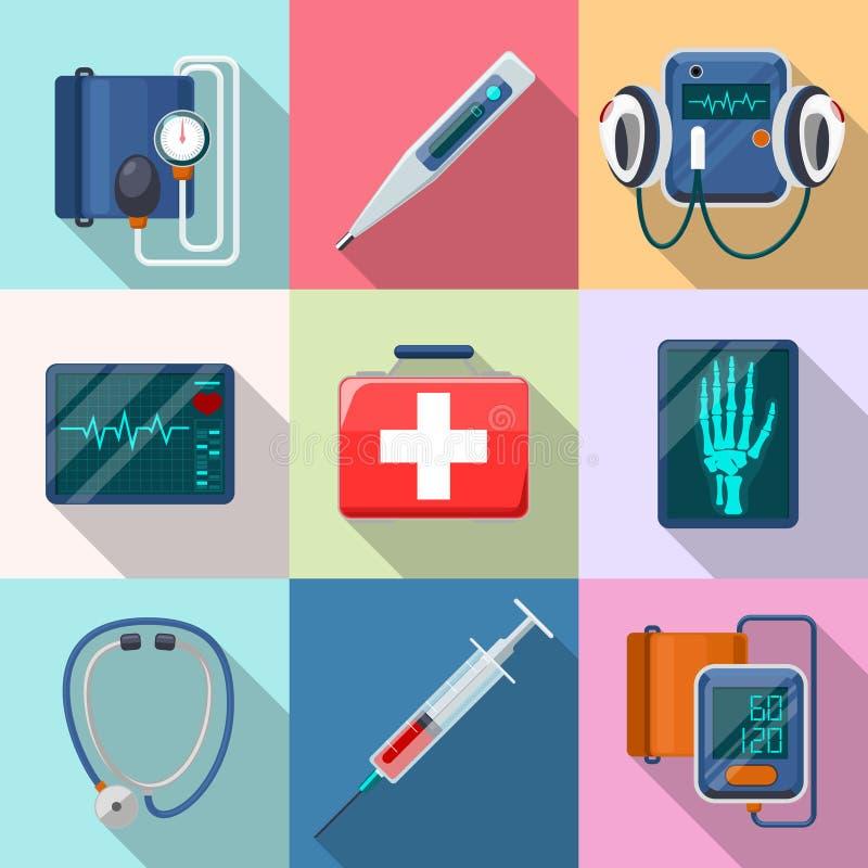 Dispositifs médicaux réglés Phonendoscope de Tonometer illustration stock