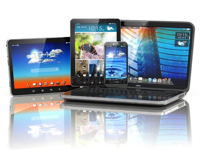 Dispositifs mobiles Ordinateur portable, Smartphone et tablette illustration libre de droits