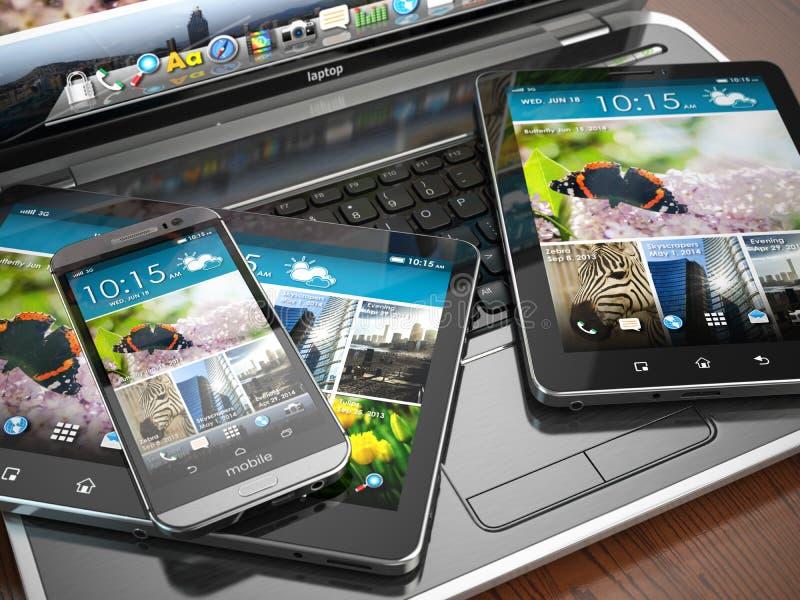 Dispositifs mobiles Ordinateur portable, Smartphone et tablette illustration stock