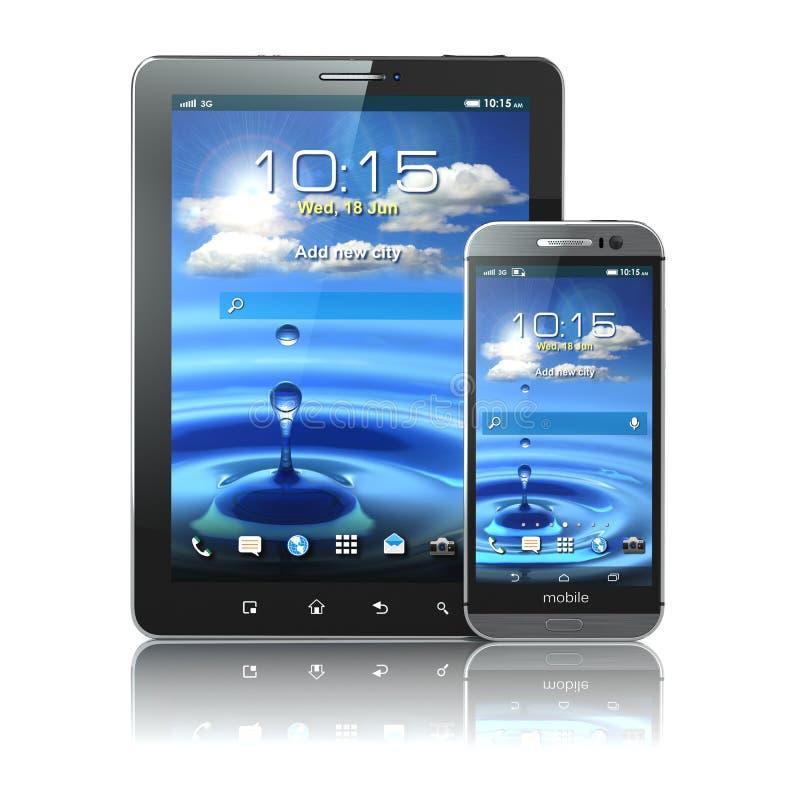 Dispositifs mobiles Smartphone et PC de comprimé sur le backg blanc illustration stock