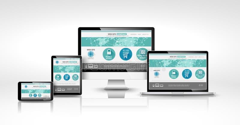Dispositifs modernes avec le web design illustration de vecteur