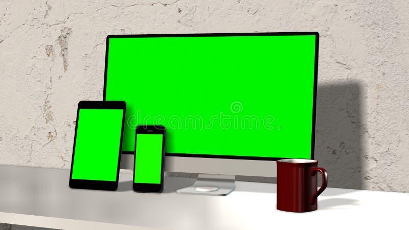 Dispositifs sensibles sur l'écran de vert d'espace de travail illustration de vecteur