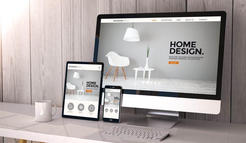 dispositifs sensibles sur la conception fraîche de site Web d'espace de travail illustration libre de droits
