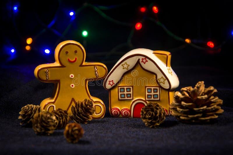 Dispositifs trembleurs de sel et de poivre Maison d'homme de gingembre et de gingembre photos stock