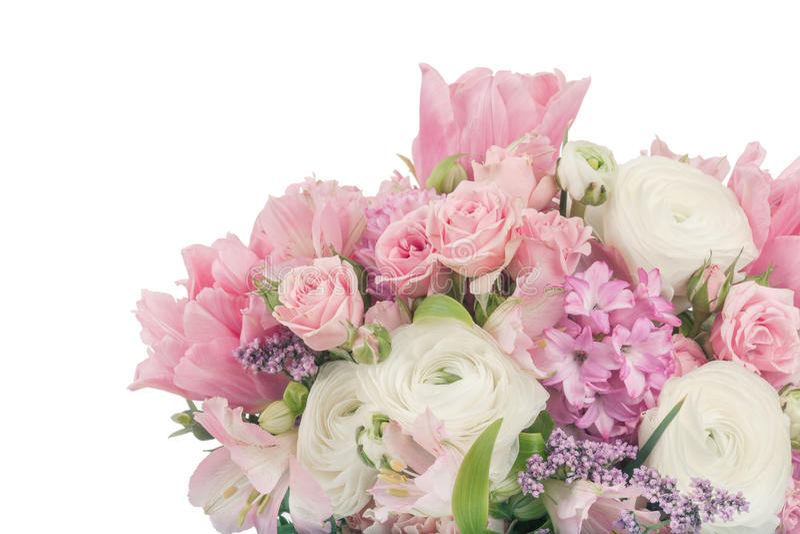 disposition tonnante de bouquet de fleur dans des couleurs en pastel d 39 isolement dessus photo. Black Bedroom Furniture Sets. Home Design Ideas