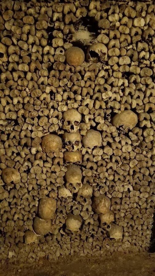 Disposition artistique des crânes dans les catacombes de Paris photographie stock