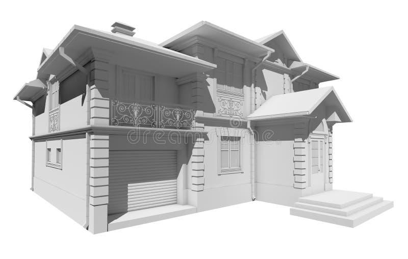 Disposition blanche du cottage, maison privée illustration de vecteur