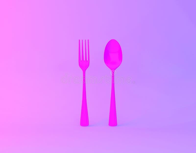 Disposition créative d'idée faite de cuillères et fourchettes à l'arrière-plan olographe pourpre et bleu audacieux vibrant de gra illustration stock