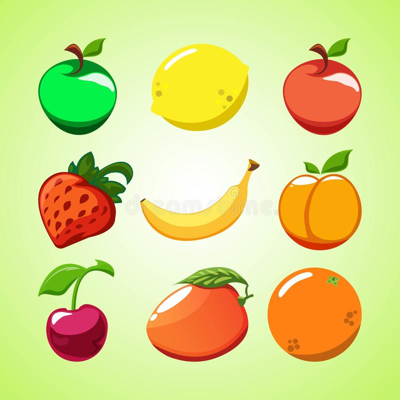 Disposition créative de fruit et de baies Pommes, fraises, citron, orange, cerise, pêche, mangue et banane rouges et verts sur a illustration de vecteur