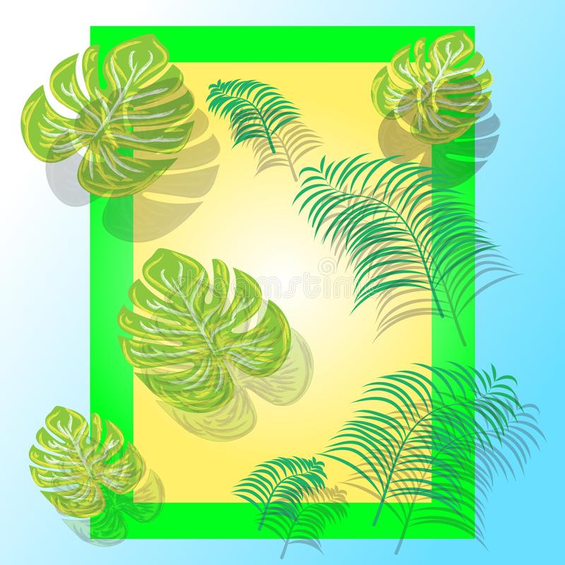 Disposition créative faite de feuilles tropicales colorées sur le fond coloré Concept exotique d'?t? minimal avec l'espace de cop illustration stock