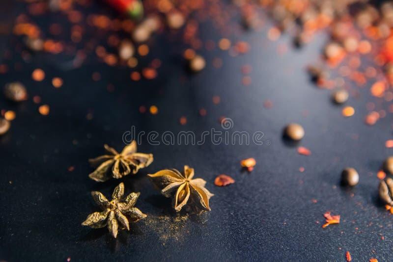 Disposition créative foncée avec Anise Cardamom Star images stock