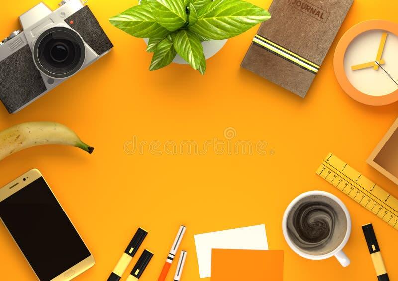 Disposition de bureau orange d'espace de travail illustration stock