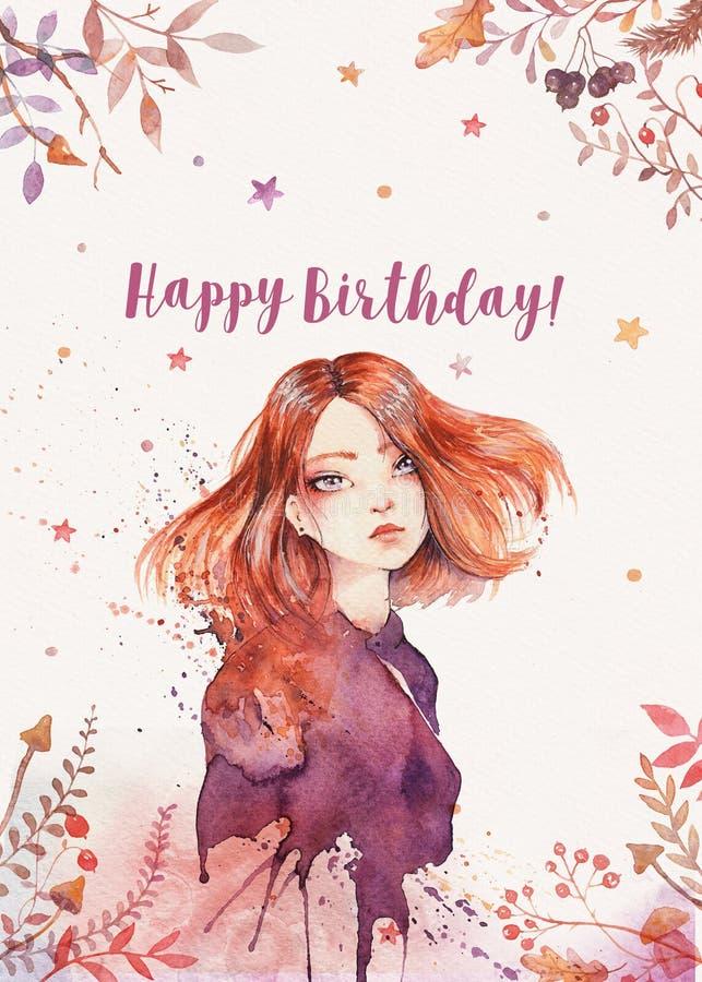 Disposition de carte postale de salutation d'aquarelle avec la fille de gingembre de boho - carte postale de joyeux anniversaire illustration libre de droits